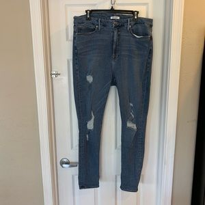 Good American High Rise Distressed Skinny Jeans
